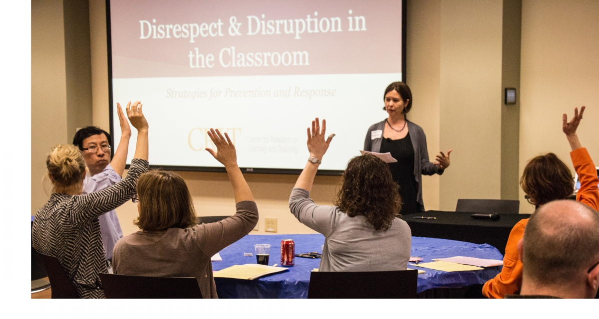 Faculty attending session regarding Disrespect and Disruption in the Classroom